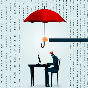 The Big Data deluge - A businessman tries to crunch the numbers at his desk.png